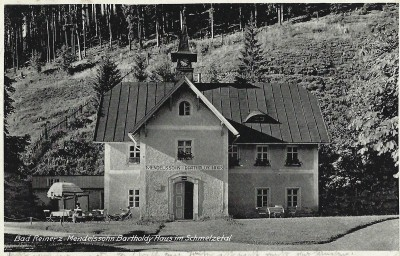 """The """"Mendelssohn House"""" at the foundry which Arnold's father Nathan operated from 1823 to 1828.  Post card, 1939, private collection."""
